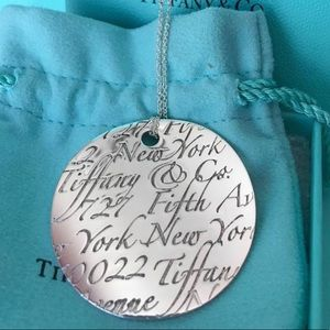 "Tiffany & Co. HUGE Wavy Notes Disc on 18"" Chain"